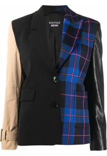 Boutique Moschino Blazer Xadrez Color Block - Preto