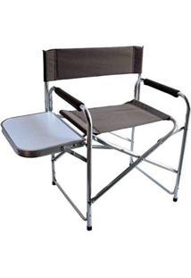 Cadeira De Alumínio Dobrável Diretor Com Mesa Lateral Nautika - Unissex-Colorido