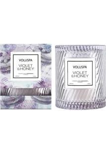 Vela Violet E Honey Macaron Collection Redoma Texturizada 55 Horas Voluspa