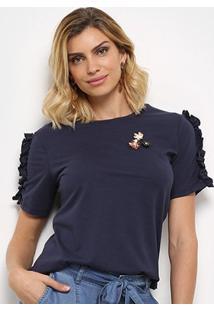 Camiseta Facinelli Babados Flores Feminina - Feminino