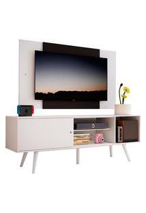 Rack Madesa Cairo E Painel Para Tv Até 58 Polegadas Com Pés De Madeira - Branco/Preto 09C7 Branco