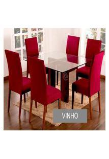 Kit Capa De Cadeira Lisa 6 Peças Vinho