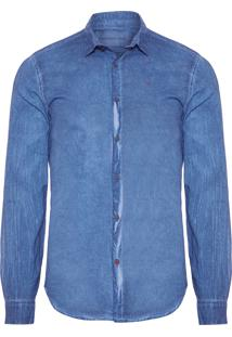 Camisa Masculina Estonada - Azul