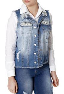 Colete Jeans Feminino Azul