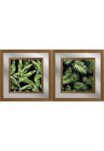 Quadro Decorativo Duplo Com Paspatur Em Espelho Paisagem Folhas 50X50 - Art Frame
