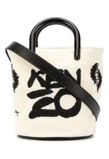 Kenzo Bolsa Bucket Com Logo - Branco