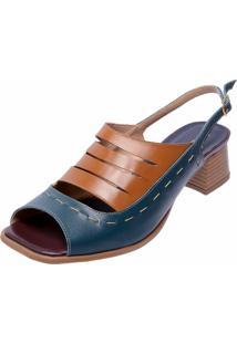 Sandália Salto Baixo Em Couro Miuzzi Azul Marinho