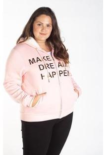 Jaqueta Moletom Plus Size Capuz Pêlos Besni Feminina - Feminino-Rosa Claro