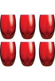 Conjunto De Copos Bellagio Vermelho 450Ml - Com 6 Peças - Casa Linda - Tricae
