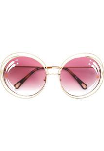 Chloé Eyewear Óculos De Sol 'Poppy' - Metálico