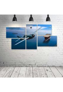 Quadro Decorativo - Aviã£O1 - Composto De 5 Quadros - Multicolorido - Dafiti