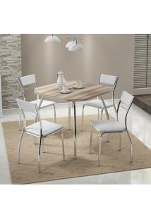 Mesa 1504 Nogueira Cromada Com 4 Cadeiras 1701 Branca Carraro