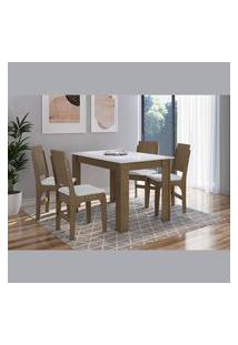 Conjunto Mesa Fixa Com 4 Cadeiras Mdf Ameixa Negra E Branco