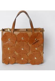 Bolsa Com Recortes De Flores- Marrom Claro & Douradagriffazzi