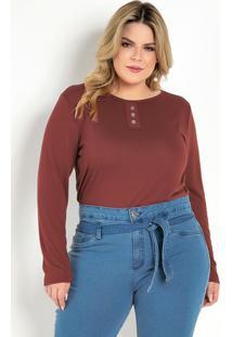 Blusa Ferrugem Com Botões Decorativos Plus Size