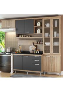 Cozinha Compacta 9 Portas 3 Gavetas Sicilia 5817 Argila/Grafite Premium - Multimóveis