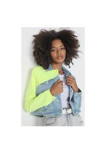 Jaqueta Cropped Jeans Lança Perfume Recortes Verde/Azul