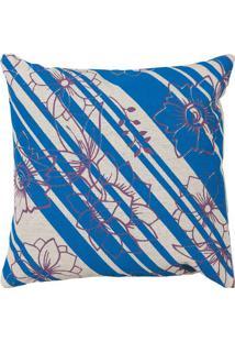 Capa Para Almofada Floral- Azul Off White- 40X40Cmartesanal