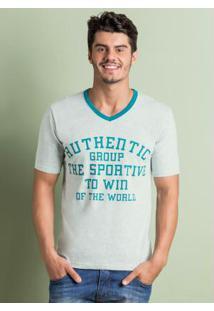 Camiseta Decote Em V Mescla