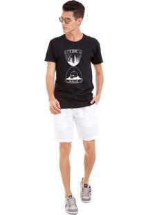 Camiseta Masculina Joss Time Kills Branco Preto