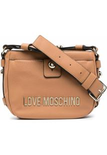 Love Moschino Logo-Plaque Faux-Leather Shoulder Bag - Marrom