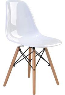 Cadeira Eif.S/Br Pc Branco Solido Base Madeira Rivatti Móveis