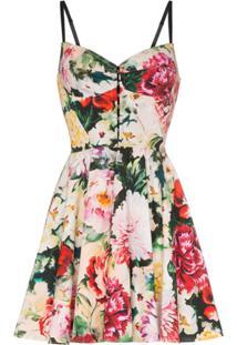 ab46f55fddba1 ... Dolce   Gabbana Vestido Com Estampa Floral De Algodão Misto - Vermelho