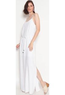 Vestido Liso Com Fendas- Branco- Heringhering