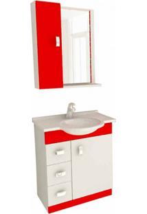 Conjunto Para Banheiro Pratiko Branco E Vermelho