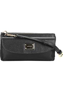 Bolsa Couro Luz Da Lua Mini Bag Com Logo Feminina - Feminino-Preto