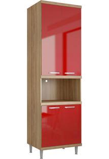 Módulo Para Forno 4 Portas Sicília Argila E Vermelho-Scarlet Multimóveis