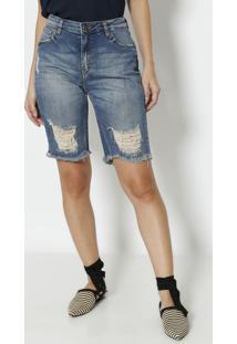 Bermuda Jeans Destroyed- Azuldudalina