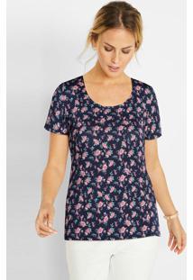 Blusa Com Decote Redondo Floral Marinho