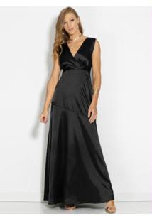 Vestido Longo Preto Com Decote Transpassado