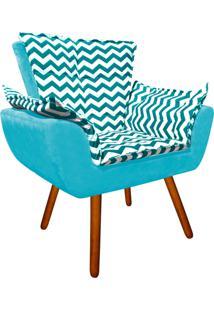 Poltrona Decorativa Opala Suede Composê Estampado Zig Zag Verde Turquesa D78 E Suede Azul Turquesa - D'Rossi.