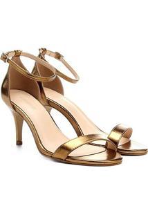 Sandália Couro Shoestock Salto Fino Metalizada Feminina - Feminino-Ouro
