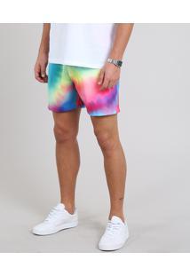Short Masculino Pride Estampado Tie Dye Com Bolso Multicor
