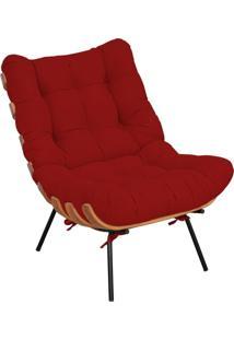 Poltrona Decorativa Sala De Estar Costela Suede Vermelho - Lyam Decor - Vermelho - Dafiti