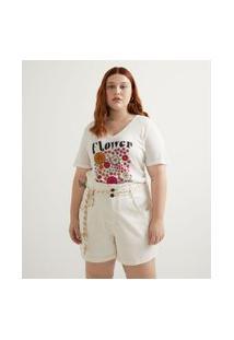 Camiseta Manga Curta Estampada Flower Power E Bordados Curve & Plus Size Branco