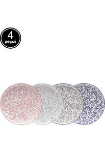 Jogo De Pratos 4 Pçs Rasos De Porcelana Munique Colorido 26Cm Lyor