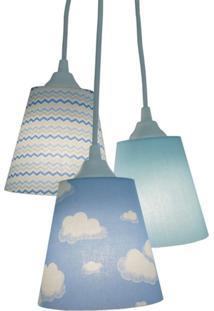 Lustre Crie Casa Pendente Infantil Nuvens E Zig Zag Azul E Branco