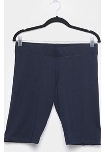 Shorts Naif Suplex Plus Size Feminina - Feminino-Marinho