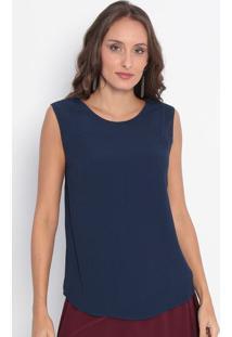 Regata Lisa Com Botão- Azul Marinho- Ennaenna