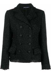 Dolce & Gabbana Jaqueta De Tweed Com Abotoamento Duplo - Preto