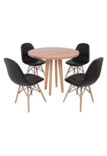Conjunto Mesa De Jantar Em Madeira 90Cm Com Base Vértice + 4 Cadeiras Botonê - Preto