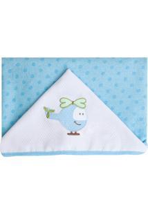 Toalha De Banho Papi Forrada Com Capuz Azul