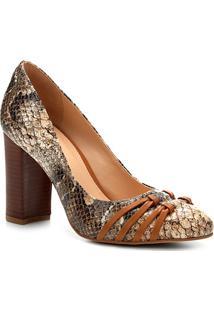 Scarpin Shoestock Salto Alto Tirinhas - Feminino-Cobra
