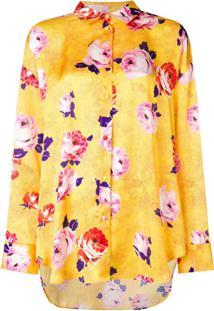 Msgm Floral Print Satin Blouse - Amarelo