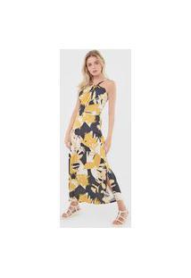 Vestido Morena Rosa Longo Floral Preto/Amarelo