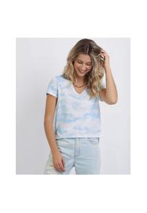 Blusa Feminina Estampada Tie Dye Manga Curta Decote V Azul